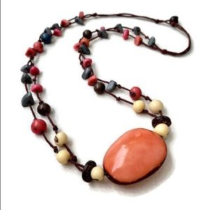 Pink and Gray Tagua Necklace TAG540